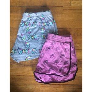 2 Girls Unicorn Shorts 🦄
